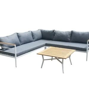 VENTURE DESIGN Mexico hjørne havesofa m. sofabord og hynder - grå polyester, hvid aluminium, natur teaktræ