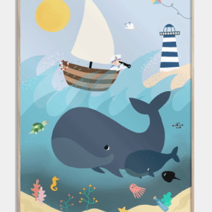 Whales and waves - Børneplakat