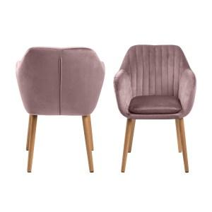 ACT NORDIC Emilia lænestol, m. armlæn - rosa polyester og natur eg