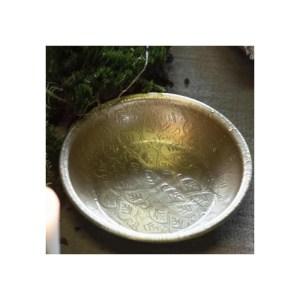 Bakke rund m/ bladmønster antik messingfinish - Ib Laursen D: 11 cm