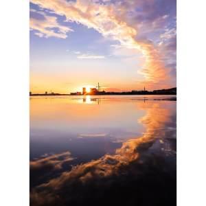 BOBO X BRANDT A Aalborg plakat af solnedgang over Limfjorden (flere størrelser) 100x70
