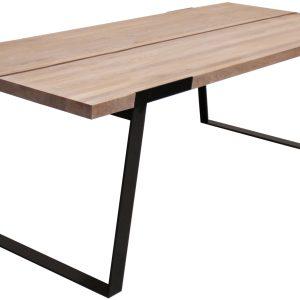 CANETT Zilas spisebord - natur egetræ og sort metel, 240x100