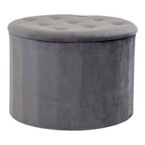 HOUSE NORDIC Turup puf, m. opbevaring - mørkegrå velour