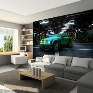 ARTGEIST - Fototapet med en grøn Ford Mustang - Flere størrelser 350x245