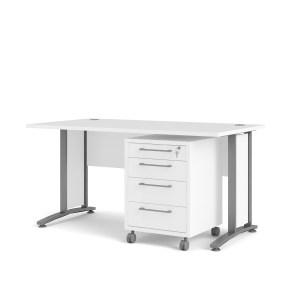 Prima skrivebord - hvid træ, stål stel