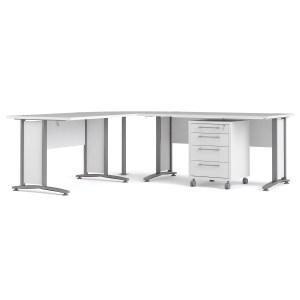 Prima skrivebord - hvid træ m. stålstel, m. skuffer