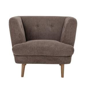 BLOOMINGVILLE Elliot loungestol, m. armlæn - brunt polyester stof m. træben