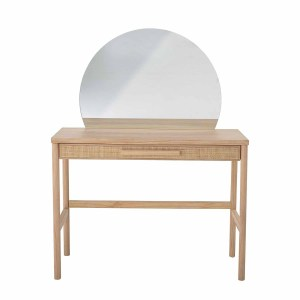 BLOOMINGVILLE Manon make-up bord, m. spejl og skuffe, rektangulær - natur fyrretræ/rattan (100x40,5)
