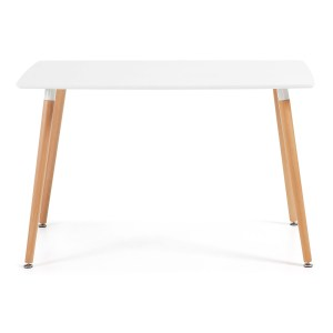 LAFORMA Daw spisebord, rektangulært - hvidt MDF og natur bøgetræ (120x75)