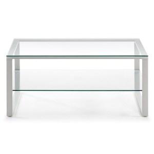 LAFORMA Navis sofabord, m. hylde, rektangulær - glas og hvidt epoxy malet stål (55x90)