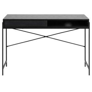 Act Nordic Angus skrivebord, m. skydelåge - sort melamin og sort metal (110x50)