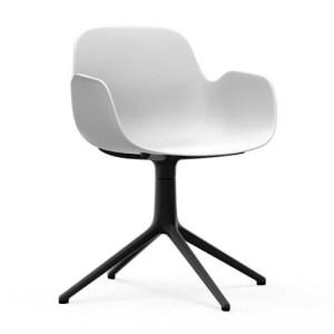 Normann Copenhagen Form drejestol med armlæn Hvid - Alu Sort