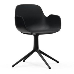 Normann Copenhagen Form drejestol med armlæn Sort - Alu Sort