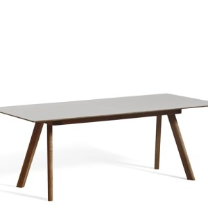HAY CPH30 Udtræksbord - 200-400x90cm. - Pebble Grey Linolium - Valnød