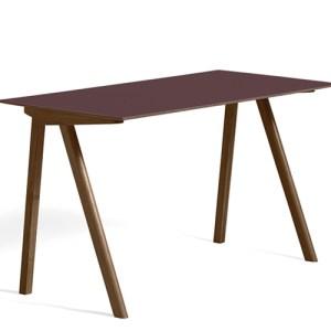 HAY CPH90 Desk - Valnød - Burgundy Linolium - Mat Lak