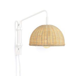 LAFORMA Damila væglampe - natur rattan og hvid metal