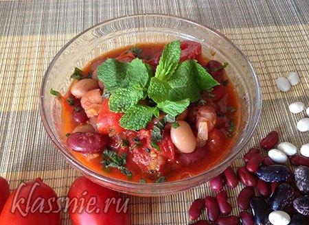 Фасоль в томатном соусе с мятой, рецепт с фото пошагово
