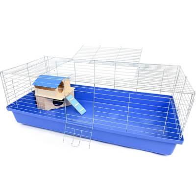 Klatka 120 cm dla Królika lub Świnki, z domkiem piętrowym, kuweta niebieska.