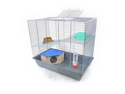 Klatka dla gryzonia Mega2 z domkiem, metalowe wyposażenie, szara kuweta