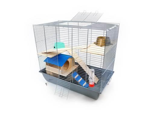 Klatka dla gryzonia Mega2 z domkiem piętrowym, drewniane wyposażenie, szara kuweta