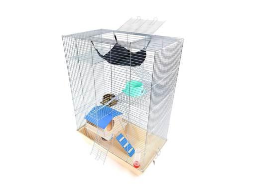Klatka dla gryzonia Mega4 z domkiem piętrowym, metalowe wyposażenie, beżowa kuweta