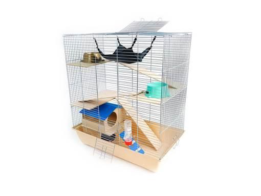 Klatka dla gryzonia Mega3 z domkiem piętrowym, drewniane wyposażenie, beżowa kuweta