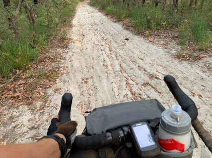 sand-filled section along the trail