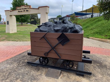 monument of a coal carrying rail car