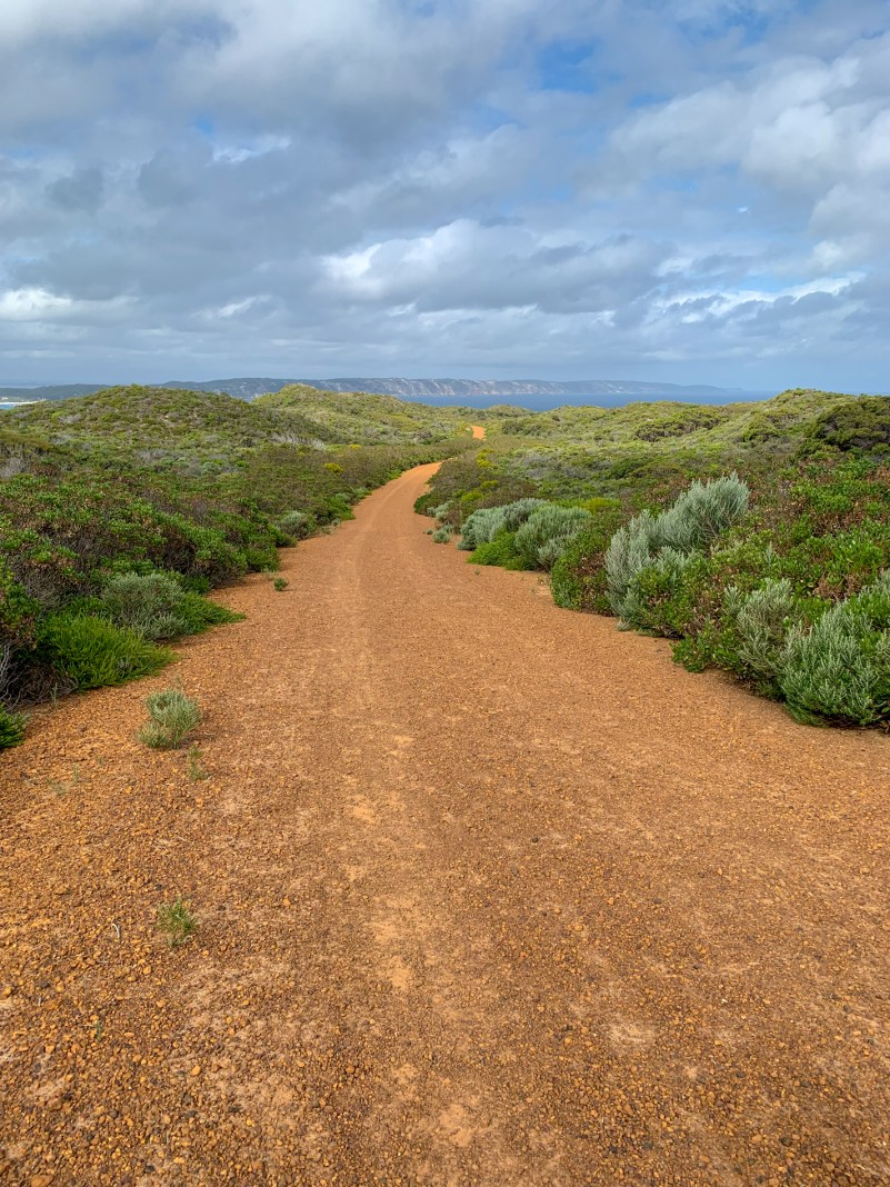 stretch of gravel road along the coast with the ocean visible in the distance