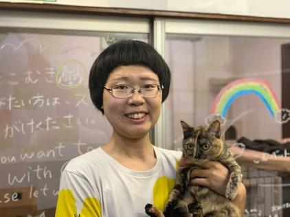 Portrait of Mayuyu and cat Comugi