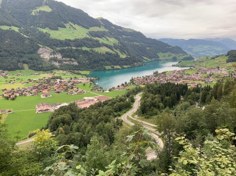 A look back from the pass towards Lungern and Lake Lungerer