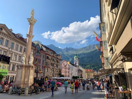 Staying the night in the state's capital Innsbruck, with views of the North Chain mountain range