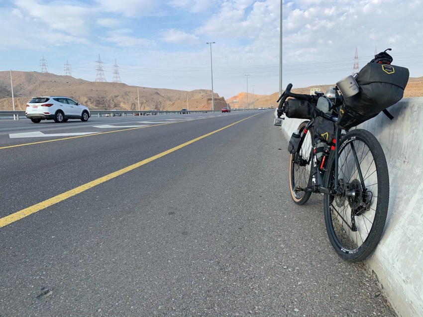 Cycling out of Muscat on a six-lane highway