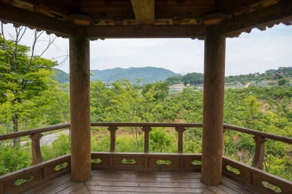 View from one of the octagonal wooden pavilions, used as rest stops, along the path
