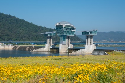 One of many futuristic looking water dam control stations