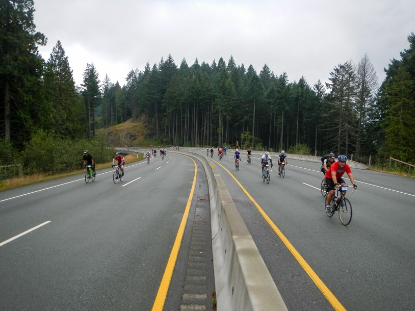 Cyclists riding on a highway