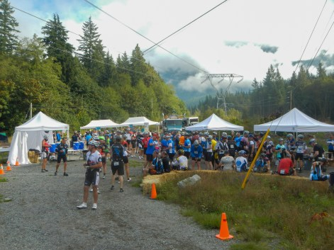 riders gathering at booths of a rest stop