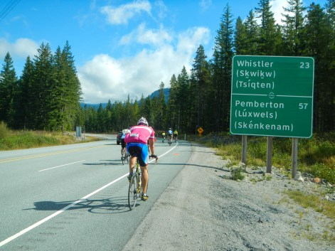 Passing a destination distance marker for Whistler