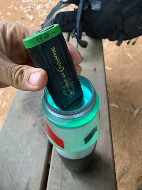 Using a Steripen Adventurer Opti to treat water in a water bottle