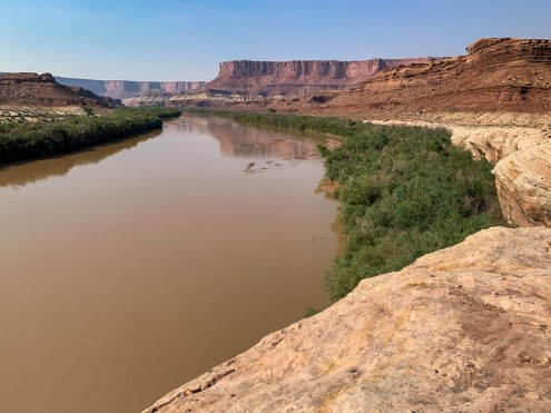 elevated view of the silty Green River with red rock cliffs in the distance