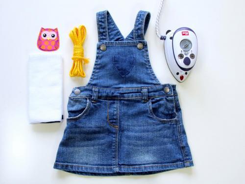 Buegelapplikation Kinder-Jeanskleid Material