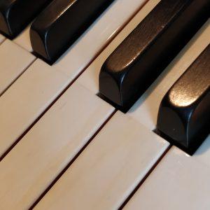 Elfenbein Klaviatur und Ebenholz Tasten aus einem alten Klavier