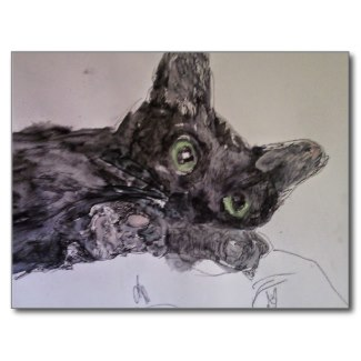 Postkarte Black Cat