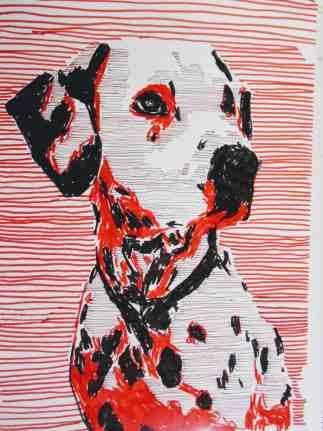 Dalmatiner. 30 x 40 cm, Fineliner und Marker