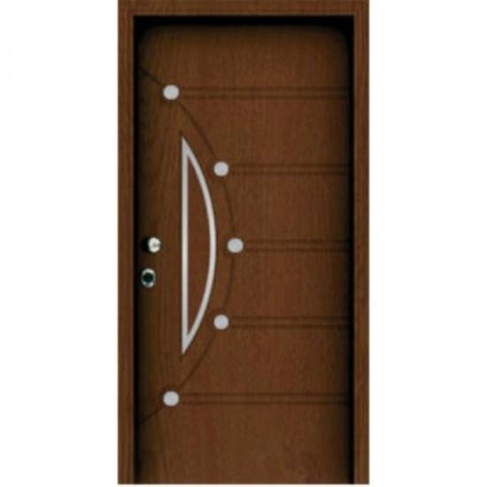 Θωρακισμενή πόρτα ασφαλείας καφέ με άσπρες κουκίδες