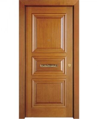 Θωρακισμενή πόρτα ασφαλείας καφέ με χρύσο κράτημα