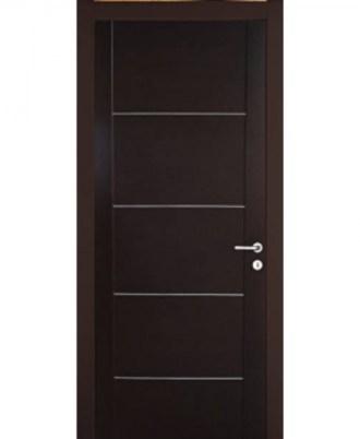 Θωρακισμενή πόρτα ασφαλείας σκούρο καφέ με άσπρες γραμμές
