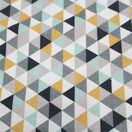 katoen mint geel wit grijs zwart triangel