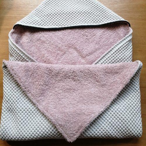 licht grijze wafel met badstof oud roze