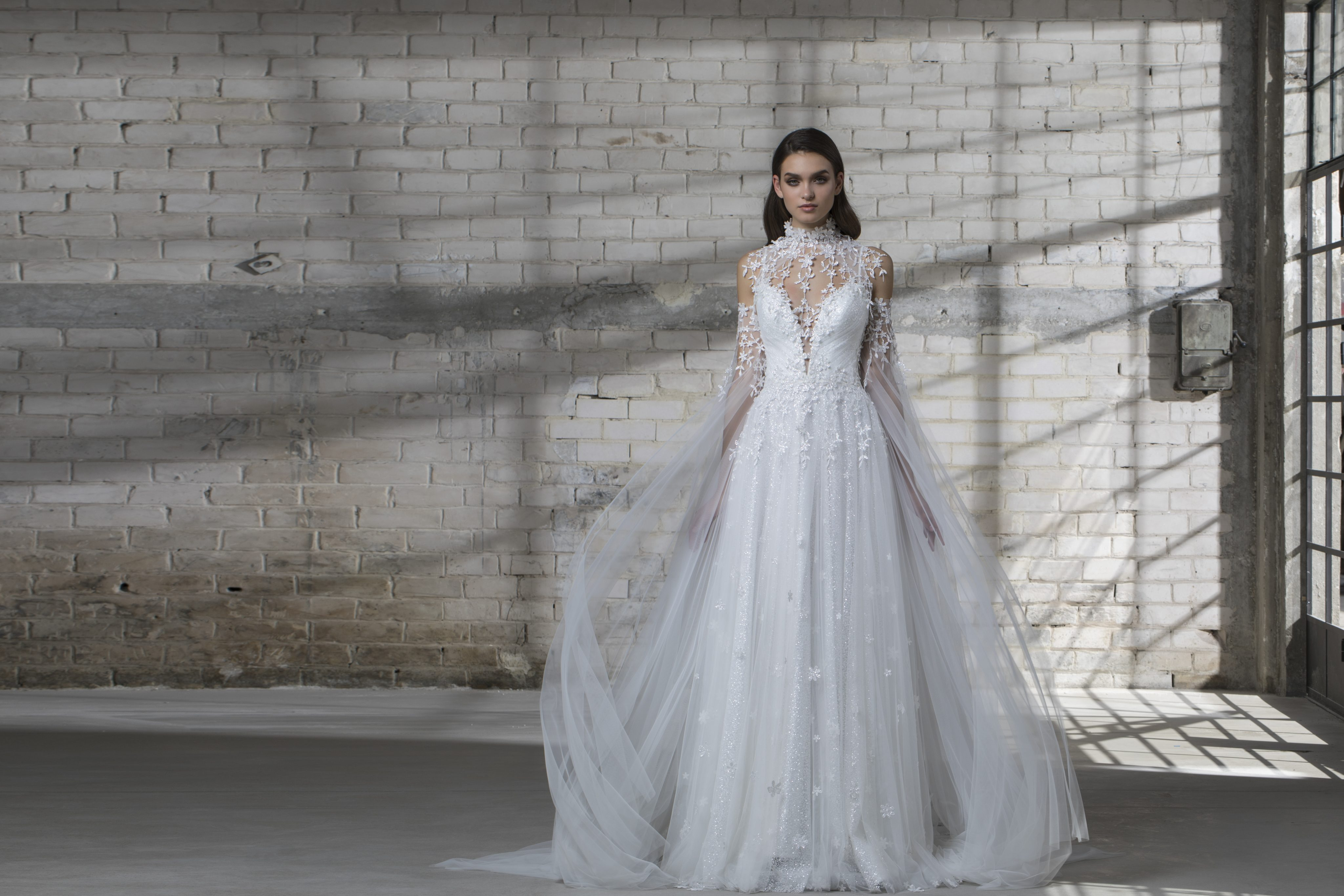 Spaghetti Strap A-line Wedding Dress With Tulle Skirt